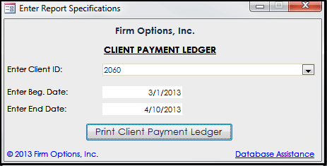 Client Payment Ledger Firm Options Inc – Receipt Ledger