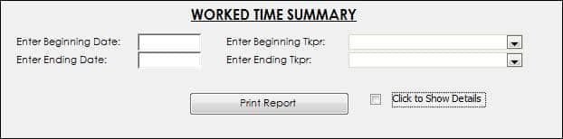 Worked Time Summary Menu