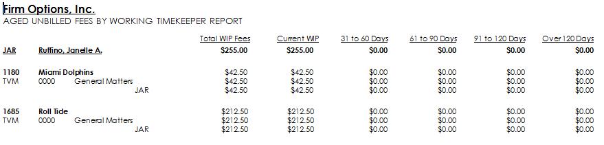 Aged Unbilled Fees - Summary