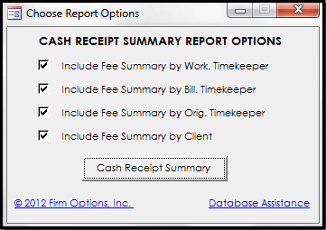Daily Cash Report: Cash Receipt Summary Options
