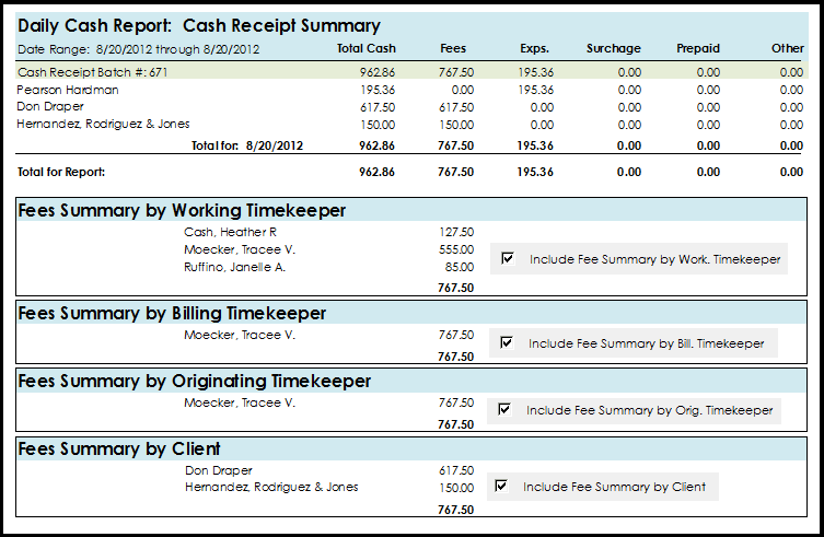 Daily Cash Report: Cash Receipt Summary Report
