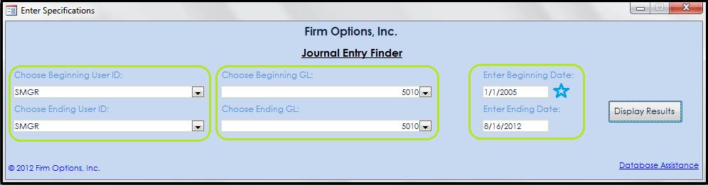 Journal Entry Finder Main Menu