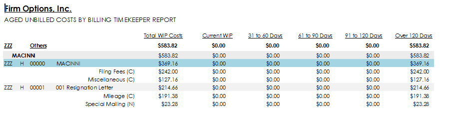 Aged Unbilled Costs - Summary Report